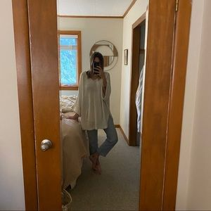 Free People off-white slouchy beach sweater